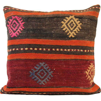 Veronica Brown/Red Striped Pattern Kilim Pillow Cover