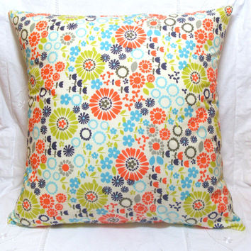 Patchwork  Pillow Cover Spring Floral Orange Navy Blue Lime Green 18x18