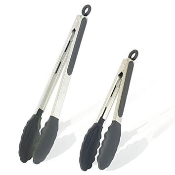 "CitrusKitchen Kitchen Utensils Stainless Tongs with Silicone Tips Black 12"" and 9"" Set of 2 BBQ Salad Fish Server Tongs for Kitchen"
