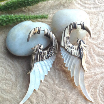 "Fake Gauge Earrings, Wing Design ""Blonde Angel"" Tamarind Wood, Mother of Pearl, Organic, Handcrafted, Tribal"