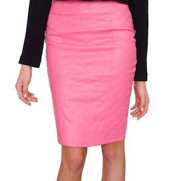 Refined Pencil Skirt - Pink Leather