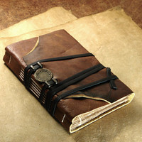 Leather Journal with Old Style Paper, Medieval Journal Brown Cover Diary with Brass Ornament - Vintage Style Old Journal - Seal