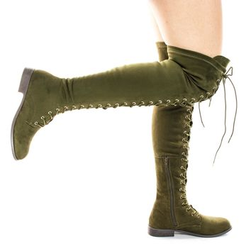 Oksana308 Olive Over Knee Thigh High Lace Up Military Corset Boots