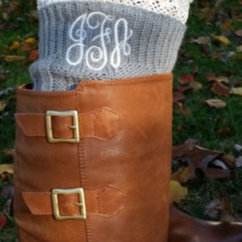 Monogrammed Boot Cuffs Cable Knit with lace Gray Beige or Black