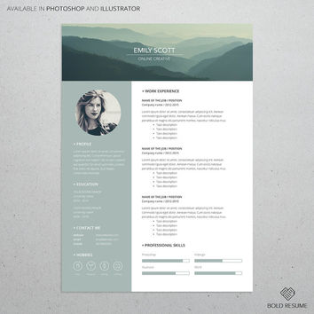Professional Creative Resume for Template Photoshop and Illustrator, Adjustable colors, Mac or PC, A4, Instant Download