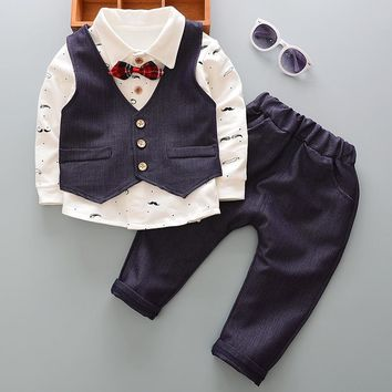 For 73-110CM Newborn Baby Boy Clothes Set Birthday Christening Cloth Infant Boys Formal Wedding Clothes Suit Vest+T-shirt+Pant