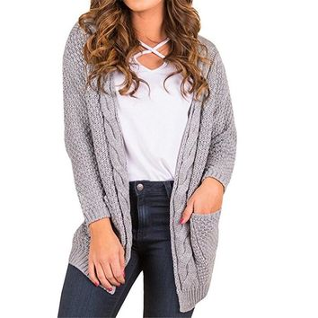 Women's Long Sleeve Cable Knit Chunky Cardigans Causal Open Front Loose Pullover Sweater Blouses