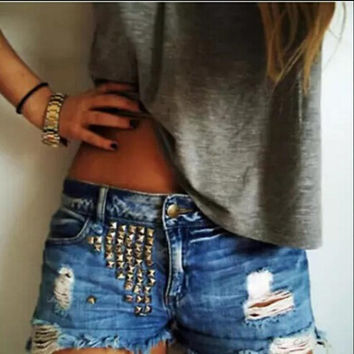 Low Waist Ripped Holes Handcrafts Rivet Metal Decoration Denim Fashion Shorts [6034601537]