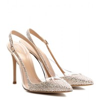 gianvito rossi - crystal-embellished satin and transparent pumps