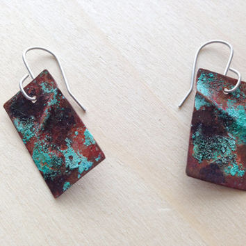 Forged copper earrings, green copper patina jewelry metal earrings, rustic copper earrings, geometric jewelry