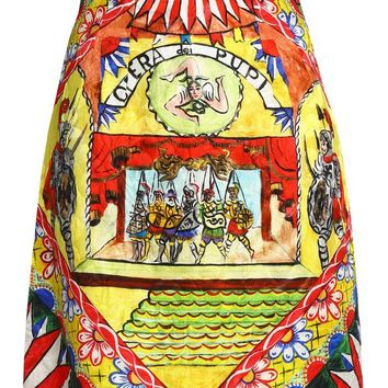 Flared printed cotton-blend jacquard skirt   DOLCE & GABBANA   Sale up to 70% off   THE OUTNET