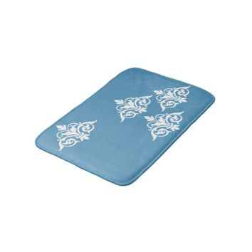 Vintage Damask Blue and White Bathmat Bath Mats