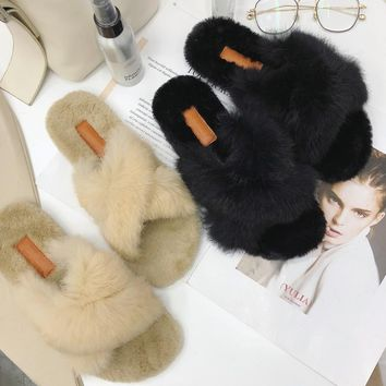 Women Slippers Winter Flat Shoes Funny Home Sandals Female outdoor Shoes Fur Warm Soft Slip On Black Grey ladies Slides