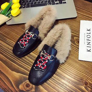 Women Fashion All-match Embroidery Snake Rabbit Hair Square-toe Leather Shoes Loafer Flats Shoes