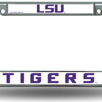 Chrome License Plate Frame - Lsu Fighting Tigers