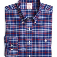 Men's Supima Cotton Regular Fit Non-Iron Blue with Red Plaid Oxford Sport Shirt