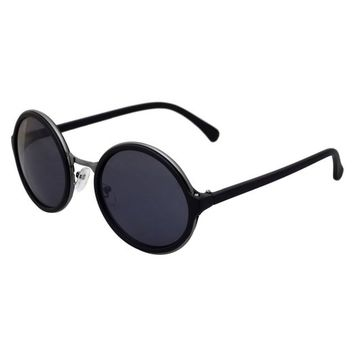 BIRCH's Urban Hipster Metal & Plastic Frame Round Circle Vintage Sunglasses (Gloss Black)