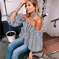 Black and White Striped Off Shoulder Top with Choker