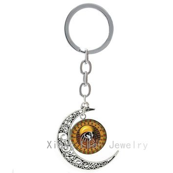 Ancient Egyptian ods Amon Ra keychain The Sun od key chain ring jewelry class egypt god moon pendant keyring gift  T664