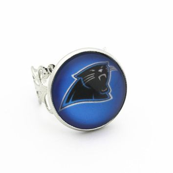 Newest 1pcs/lot Sports Football Carolina Panthers Opening Adjustable Ring 18mm Snap Buttons Snap Jewelry fit Woman