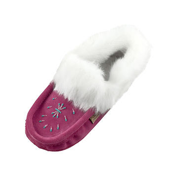 Women's Fleece Lined Fuchia Suede Moccasins With Rabbit Fur - 698L
