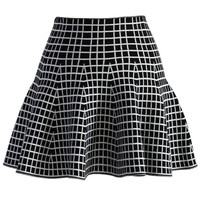 Check Me Out Knitted Skater Mini Skirt Black S/M