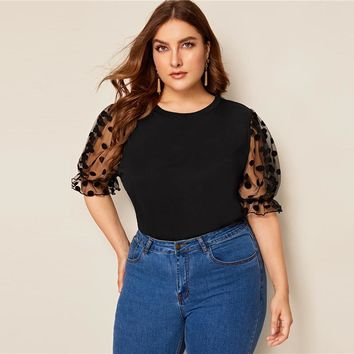 Plus Size Swiss Dot Mesh Sleeve Solid Top Tee Women Causal Half Puff Sleeve Contrast Mesh O Neck Shirt