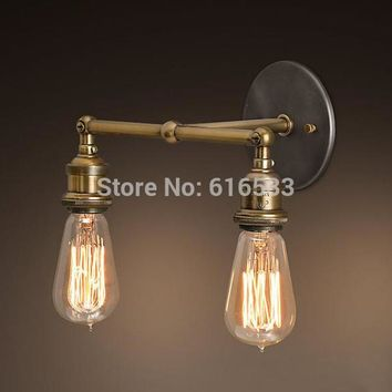 Nordic Loft Vintage Lustre Edison Double Wall Sconce Lamps Industrial Bathroom Bar Mirror Bedside Home Decor Lighting Fixture