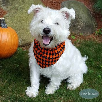 Halloween Argyle Black and Orange Dog Bandana