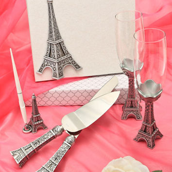 Paris theme  Eiffel Tower, Parisian Wedding set- Guest Book, Pen,Champagne Flutes Cake/Knife server -Wedding Anniversary Bridal Shower, gift