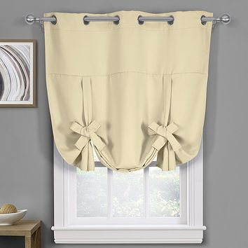 "Ava Blackout Weave Curtains Grommet Tie Up Shade for Small Window ( 46"" W X 63"" L)"