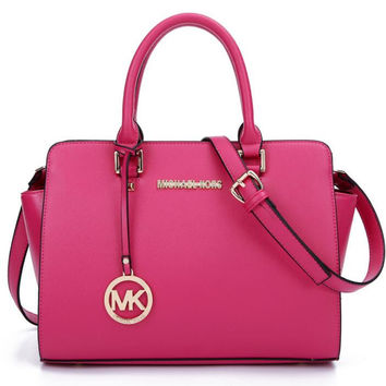 MK Women Shopping Leather Handbag Tote Satchel Shoulder Bag Rose red