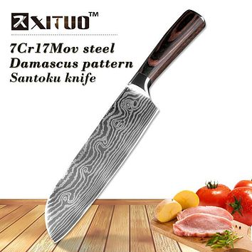 "XITUO 7""inch Santoku knife 7Cr17 Steel very sharp Professional chef knife Imitation Japanese Damascus steel pattern Cleaver"