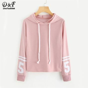 Dotfashion Pink Varsity-Striped Number Print Cute Hoodie 2018 Autumn Women Fashion Drawstring Hoodies Sweatshirts