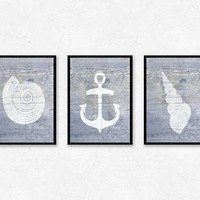 Rustic wall decor, triptych, printable, anchor print, nautilus shell, seashells, poster, wood wall art, beach art, 3 piece wall art
