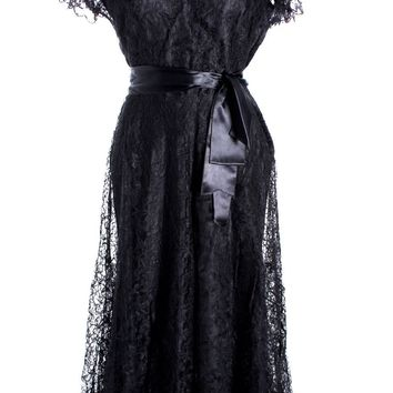 VTG 1940s Lace Gown Black Full Length M + Slip Wearable 40-32-44
