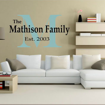 Family Wall Decal, Family Established Wall Decal, Personalized Family Wall Decal, Family Name Decal, Monogram Established