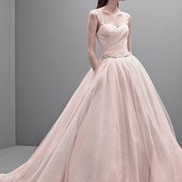 Taffeta Ball Gown with Contrasting Tulle Overlay - David's Bridal