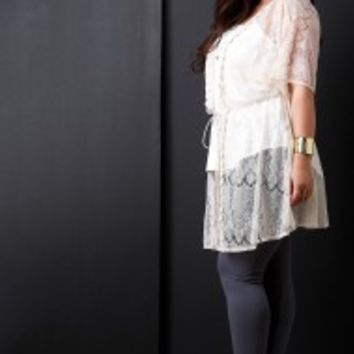 Crochet Lace Self-Tie Cover Up Kimono