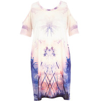 River Island Womens Pink palm tree cold shoulder t-shirt dress