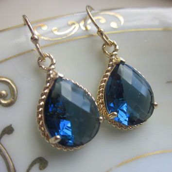 Sapphire Earrings Navy Blue Teardrop Gold - Bridesmaid Earrings - Valentines Day Gift - Wedding Earrings
