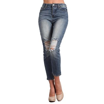 Celebrity Pink Jeans Women's High Waist Distressed Cropped Jeans