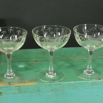 Noritake Sasaki Crystal Bamboo Pattern Champagne Coupe Glasses • Set of 3 •  Cut Crystal • Mid Century • circa 1950s