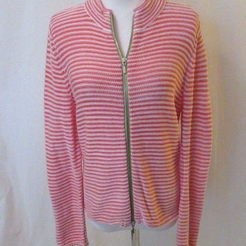 Talbots Petites Zipper Front Cardigan Sweater Women's M Striped Pink & White