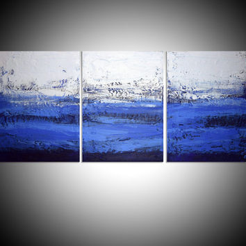 "LARGE WALL ART triptych 3 panel wall contemporary art ""Ultramarine Triptych"" canvas original painting abstract canvas  wall kunst 48 x 20"""