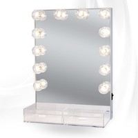 Hollywood Crystal XL Vanity Mirror with Acrylic Drawers - Impressions Vanity Co.