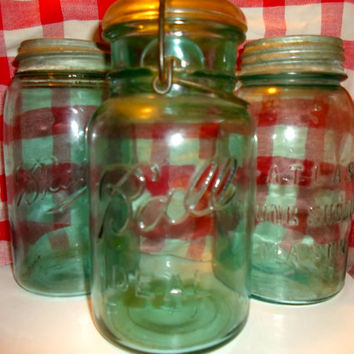 set of 3 Vintage Blue Mason Ball Jars with Zinc lids, one with glass lid