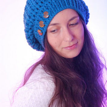 Turquoise beanie hat, buttons decoration, woman accessories, crocheted winter wool hat, fall winter fashion. Christmas gift.