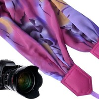 Pink, purple Scarf camera strap by InTePro.