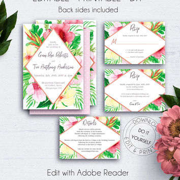Tropical Wedding Invitaiton Suite, Wedding Sets, Blush, Watercolor Floral Rose Gold Invites, RSVP Card, Floral Wedding Set, Palm Leaf